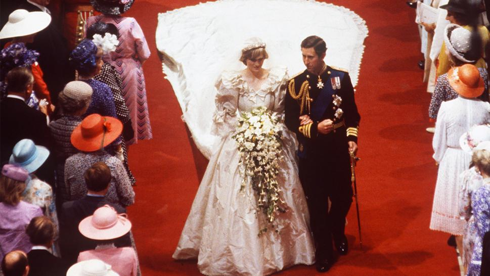 Diana, Princess of Wales, is photographed in her unforgettable gown on her wedding day in 1981.
