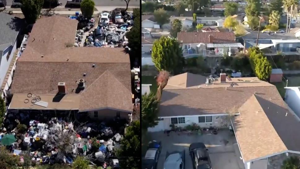 A hoarder's yard being cleaned in California