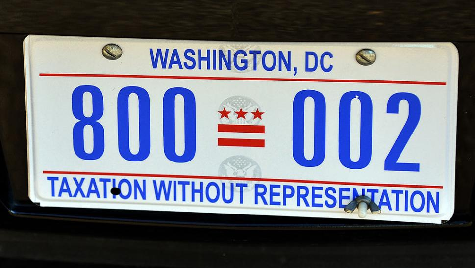 "The license plate of US President Barack Obama's limo is pictured on January 19, 2013 in Washington DC. Obama's limousine is now adorned withe ""Taxation Without Representation"" license plates."
